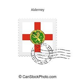 Alderney Flag Postage Stamp.