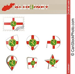 Alderney Flag Set, Flag Set #202. Vector.