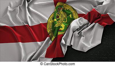 Alderney Flag Wrinkled On Dark Background 3D Render