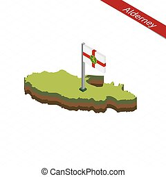 Alderney Isometric map and flag. Vector Illustration.