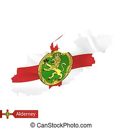 Alderney map with waving flag of country.