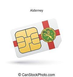 Alderney mobile phone sim card with flag.