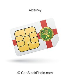 Alderney mobile phone sim card with flag. Vector...