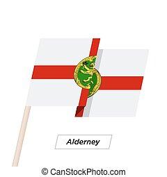 Alderney Ribbon Waving Flag Isolated on White. Vector Illustration.