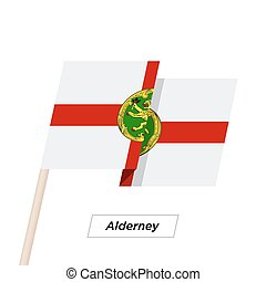 Alderney Ribbon Waving Flag Isolated on White. Vector...