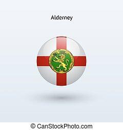 Alderney round flag. Vector illustration.
