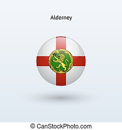 Alderney round flag. Vector illustration. - Alderney round...