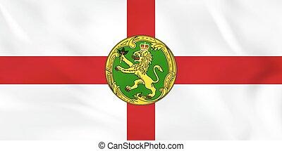 Alderney waving flag. Alderney national flag background texture.