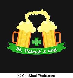 Ale beer mugs for Saint Patrick day Irish holiday vector