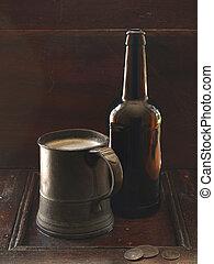 Ale - bottle of ale and mug