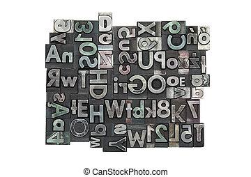 aleatório, letterpress, fundo
