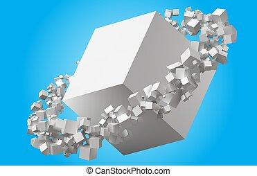 aleatorio, dimensionar, cubos, girar, en, eliptic, órbita,...