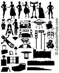 aleatorio, siluetas, conjunto, gente, steampunk