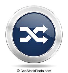 aleatory icon, dark blue round metallic internet button, web and mobile app illustration