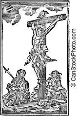 alegórico, bíblico, testament., grabado, cruz, vía,...