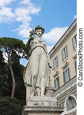 alegórico, esculturas, uno, cuatro, del, popolo, plaza