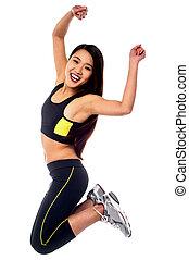 alegría, mujer, ropa de deporte, saltar