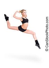 alegría, mujer, saltar, condición física