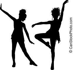 alegría, niños, bailando