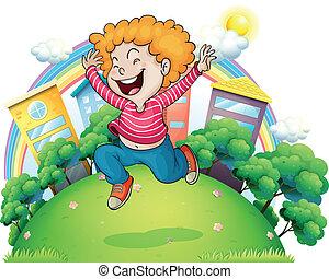 alegría, saltar, caballero, joven, colina