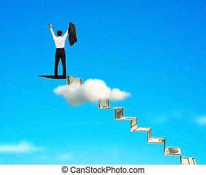 alegrando, topo, homem, escadas, dinheiro