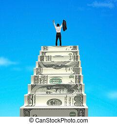 alegrando, topo, homem negócios, escadas, dinheiro