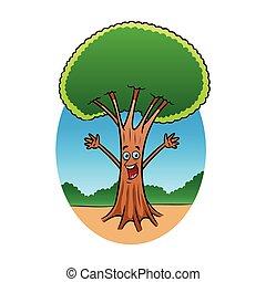 alegre, árvore, personagem