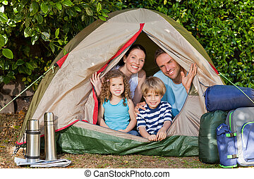 alegre, acampamento familiar, jardim