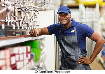 alegre, africano, loja de ferragens, trabalhador