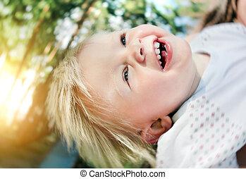 alegre, al aire libre, niño