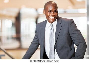 alegre, americano, executivo, negócio, africano