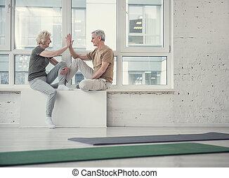 alegre, aposentados, descansar, após, bom, treinamento