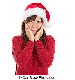 alegre, asiático, navidad, mujer