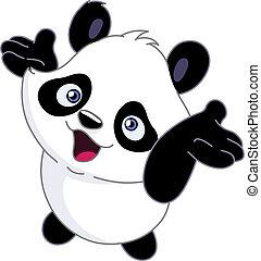 alegre, bebé, panda