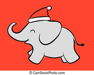 alegre, bebé, santa, elefante
