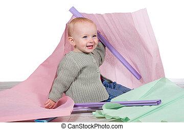 alegre, bebê, rir, jovem