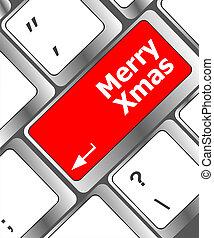 alegre, botón, entrar, navidad, mensaje, llave, teclado, navidad
