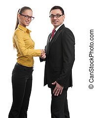 alegre, businesspeople, apretón de manos