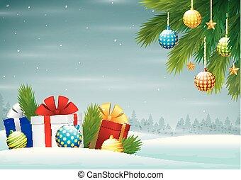 alegre, cajas, plano de fondo, regalo, ramas, árbol, navidad