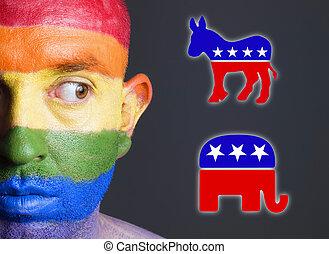 alegre, cara, símbolo., demócrata, bandera, republicano, hombre