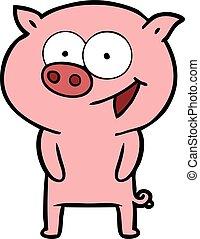 alegre, caricatura, cerdo