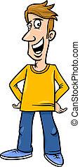 alegre, caricatura, ilustración, hombre