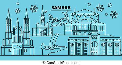alegre, ciudad, claus.russia, invierno, skyline., plano,...