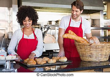 alegre, colegas, Posar,  bread