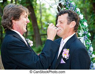 alegre, -, comer, dejar, torta de la boda, él
