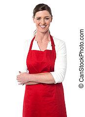 alegre, confiante, cozinheiro, femininas