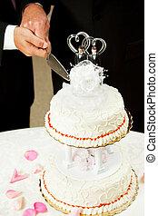 alegre, -, corte, matrimonio, torta de la boda