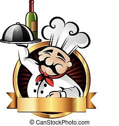 alegre, cozinheiro, ilustração