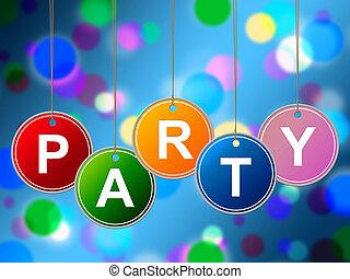 alegre, crianças, meios, juventude, divertimento, partido