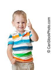 alegre, cute, criança, cima, dedo